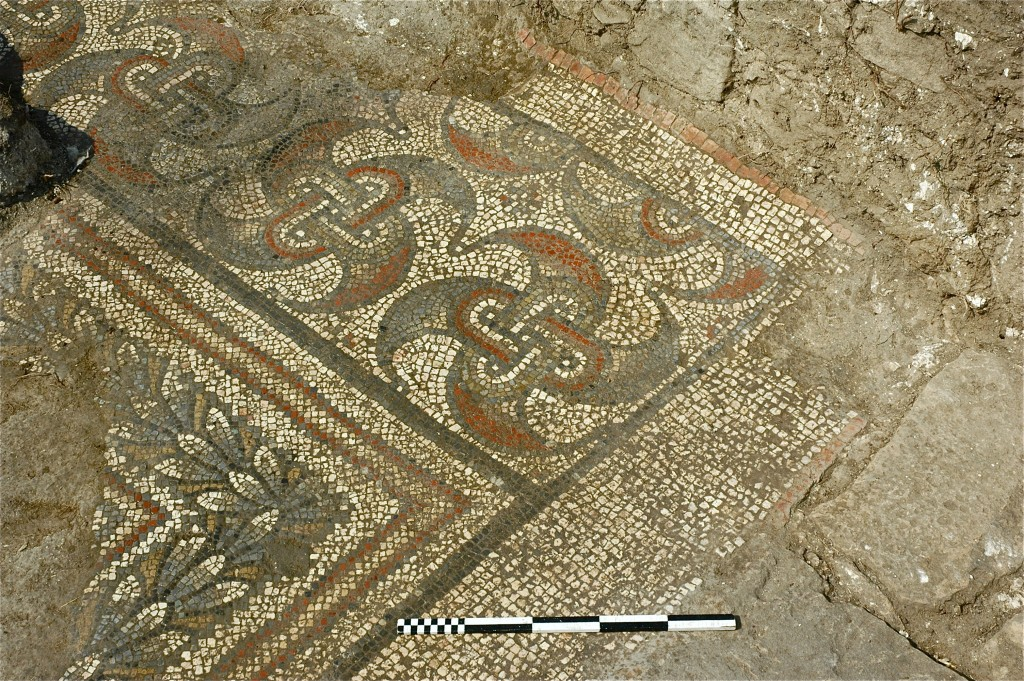 Figure 3: Mosaic detail, north-west corner of south corridor, linked swastika-peltas.